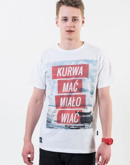 ..Koszulka męska Go2hel Kurwa mać miało wiać czerwone pasy