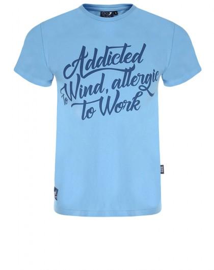 Koszulka męska Go2hel Addicted to Wind allergic to work niebieska